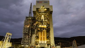 A United Launch Alliance Delta IV Heavy rocket sits on its launch pad at Vandenberg Air Force Base in Santa Barbara County on Dec. 6, 2018. (Credit: United Launch Alliance)