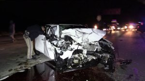 Wreckage of a car is seen after a wrong-way crash on the 91 Freeway. (Credit: KTLA)