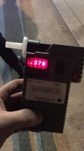 An alcohol screening device shows a potentially fatal level of blood-alcohol after police stopped a man already on probation for DUI in Gardena on Jan. 30, 2019. (Credit: Gardena Police Department)