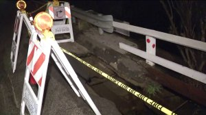 A portion of Mannix Drive is seen after it collapsed in Laurel Canyon and the hillside underneath slid down on Jan. 17, 2019. (Credit: KTLA)