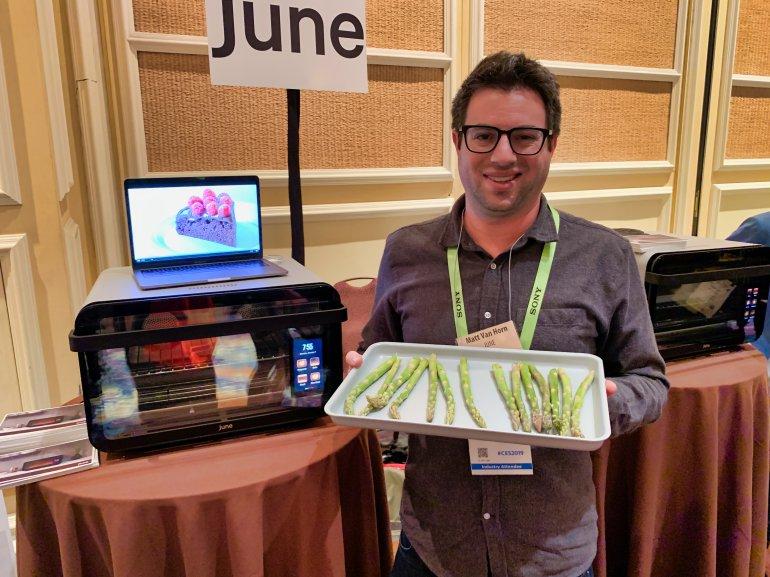 Matt Van Horn, Co-Founder and CEO of June holding asparagus