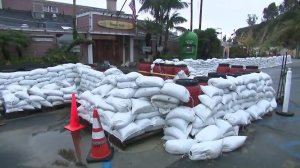 Sand bags surround a restaurant in Malibu ahead of back-to-back storms on Jan. 31, 2019. (Credit: KTLA)