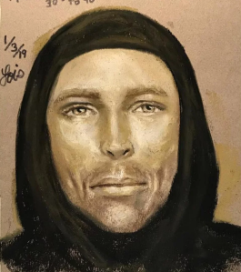 A suspect sketch of the man who shot and killed 7-year-old Jazmine Barnes is seen in images released by the Harris County Sheriff's Office.
