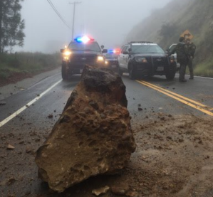 A fallen boulder on Rambla Pacifico Street in Malibu is seen in a photo tweeted by the Los Angeles County Sheriff's Office on Jan. 17, 2019.