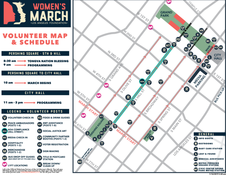 The Women's March LA Foundation posted this map of the Women's March route in downtown Los Angeles on Jan. 19, 2019.