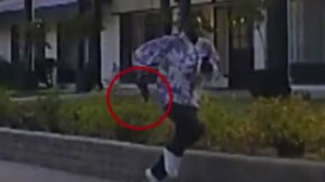 This image from video footage indicates where a suspect running from police in Pasadena is holding a handgun, on Jan. 11, 2019. The footage was released by police on Jan. 30, 2019.