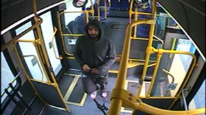 Police are seeking the man pictured in this surveillance camera photo in connection with the sexual assault and stabbing of a woman in San Bernardino on Jan. 12, 2019. (Credit: San Bernardino Police Department)