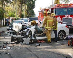A vehicle is seen in Northridge following a deadly crash on Jan. 26, 2019. (Credit: Los Angeles Fire Department)