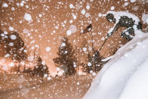 Heavy snow is seen at Mammoth Mountain Ski Resort on Feb. 4, 2019. (Credit: Peter Morning / Mammoth Mountain)