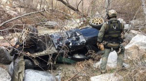 Los Angele County Sheriff's Department tactical paramedics work at the scene where a vehicle went off the side of Angeles Forest Highway in the Angeles National Forest on Feb. 9, 2019. (Credit: Los Angeles County Sheriff's Department)
