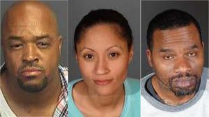 From left: Michael L. Bourgois, Khadijah J. Toliver and Marvin T. Carter are seen in photos released by LAPD on Feb. 11, 2019.