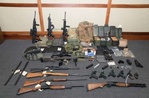 Federal agents found 15 firearms and over 1,000 rounds of ammunition when Christopher Paul Hasson was arrested. (Credit: U.S Attorney's Office in Maryland via CNN)