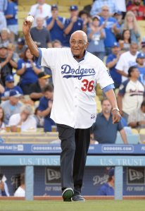 Former Los Angeles Dodgers Don Newcombe #36, waves to fans before his ceremonial first pitch before the game against the Cleveland Indians at Dodger Stadium on July 1, 2014 in Los Angeles, California. (Credit: Harry How/Getty Images)