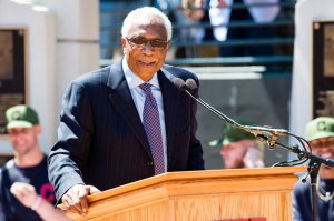 Former Cleveland Indians manager and player Frank Robinson speaks during the unveiling of a new statue commemorating his career at Progressive Field in Cleveland on May 27, 2017. (Credit: Jason Miller/Getty Images)