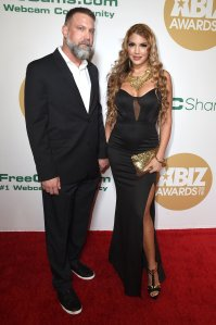 An unidentified guest, left, and Mercedes Carrera attend the 2018 XBIZ Awards on Jan. 18, 2018, in Los Angeles. (Credit: Joshua Blanchard/Getty Images for XBIZ)
