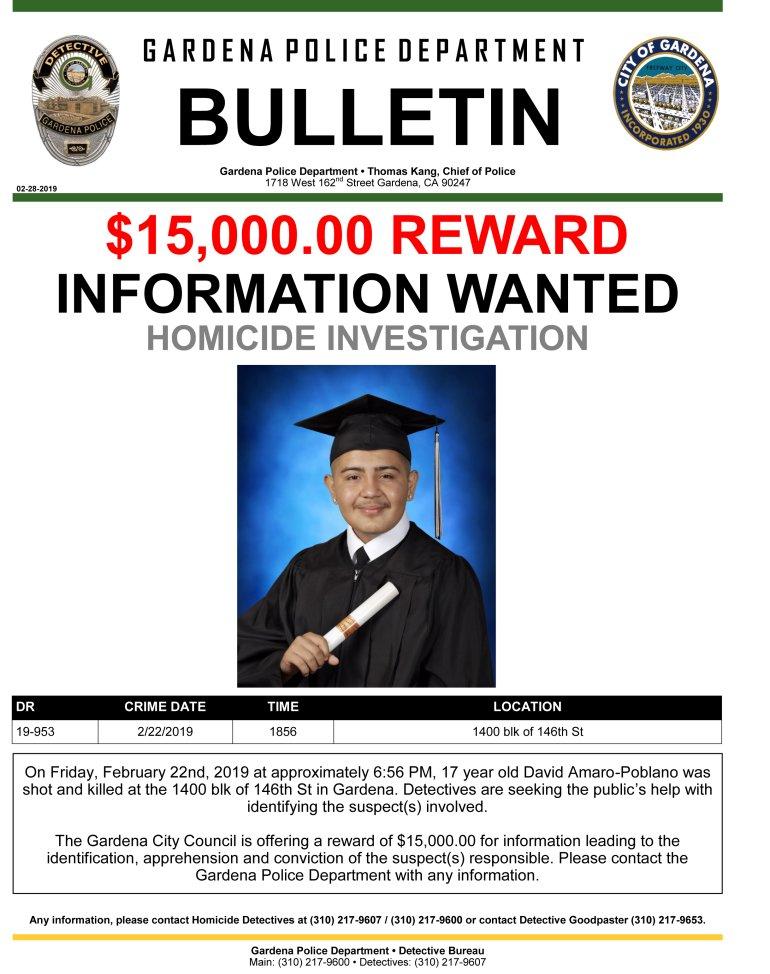 Gardena Police Department Reward Flier
