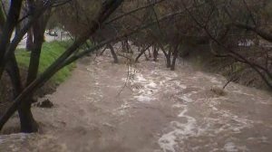 Laguna Canyon flooded during a powerful storm on Feb. 14, 2019. (Credit: KTLA)