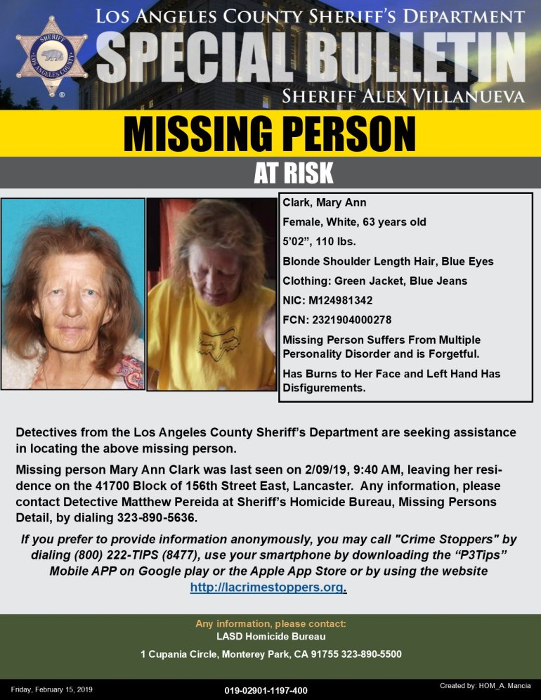 Los Angeles County Sheriff's Department missing person flier.