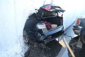 Pomona police officials released this photo of a stolen Audi that rammed into a patrol vehicle on Feb. 6, 2019.