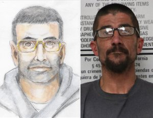 A police sketch of an indecent exposure suspect, left, and the man arrested in the case, 41-year-old Darrell Finstad, are seen in images release Feb. 20, 2019, by the Redlands Police Department.