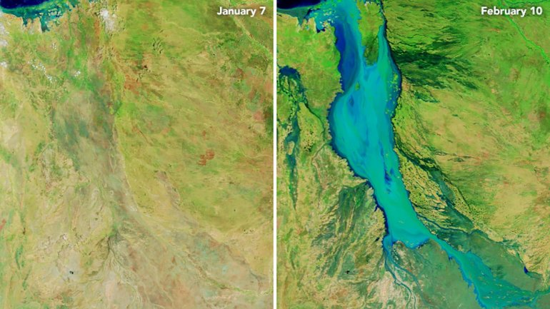 Satellite imagery shows the massive flooding that has hit northwest Australia in 2019. (Credit: NASA)