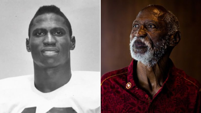 C.R. Roberts is seen, left, in an image released by USC taken during his time on the football team in the late 50s, and at right in a portrait taken by Los Angeles Times photographer Gabriel S. Scarlett on July 26, 2018.