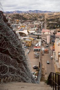 Razor wire is seen atop a portion of the border wall. (Credit: Robert Bushell / U.S. CBP Office of Public Affairs / U.S. Customs and Border Protection)