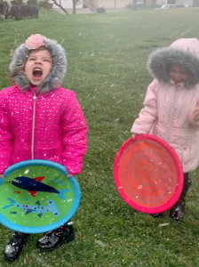 Jason Fish sent KTLA video of his daughters playing in the snow falling in Upland on Feb. 21, 2019.