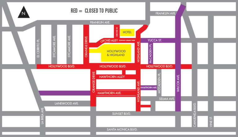 The Academy Awards released this map of Hollywood street closures for Feb. 24, 2019.