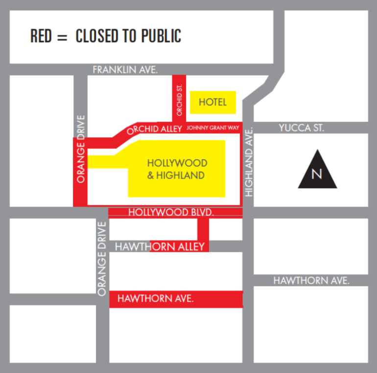 The Academy Awards released this map of Hollywood street closures for Feb. 23, 2019.