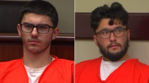 Owen Shover, left, and Gary Shover, right, are seen during their court appearance on Feb. 15, 2019. (Credit: KTLA)