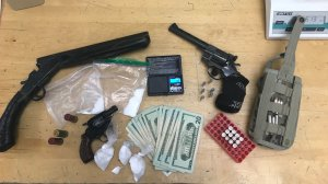 Deputies seized three ounces of methamphetamine, a sawed-off shotgun and two handguns during a raid at the home of a Chatsworth man on Feb. 1, 2019. (Credit: Ventura County Sheriff's Office)