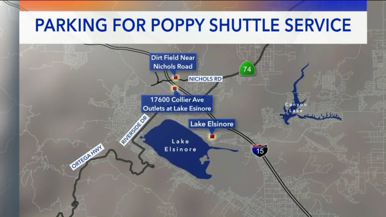 This map shows parking for shuttle service at Walker Canyon.