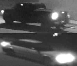 Two suspect vehicles involved in the theft of a 1962 Chevrolet Bel Air 409 are seen in photos released March 27, 2019, by the Los Angeles County Sheriff's Department.
