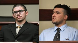 Owen Shover, left, and Gary Shover, right, are seen in court on March 1, 2019. (Credit, Milka Soko, courtesy Southern California News Group)