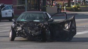 One of three vehicles involved in a violent crash are shown on March 26, 2019. (Credit: KTLA)