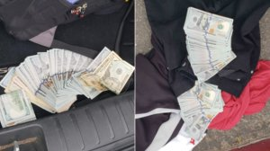 Cash recovered from two burglary suspect's rented vehicle in Sherman Oaks is seen in a photo released March 6, 2019, by the Los Angeles Police Department.