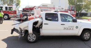 An Anaheim police Traffic Control Assistant suffered critical injuries when her truck was rear-ended by an alleged drugged driver on March 9, 2019. (Credit: OC Hawk)