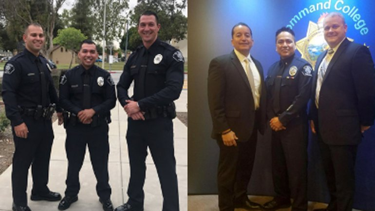 Officer Tyler Dominguez (center), left, and Lt. Chris Cano (center), right, are seen in photos released by the El Monte Police Department.