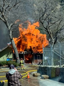 A fire engulfed the Mountain Town Museum in Oak Glen on Mach 14, 2019. (Credit: Cal Fire)