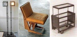 Two lamps designed by Frank Lloyd Wright and a chair and tea cart designed by Rudolph Schindler for Wright's Freeman House in the Hollywood Hills are seen in images released by Los Angeles police on March 12, 2019.