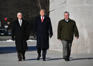President Donald Trump, Vice President Mike Pence (L) and acting Interior Secretary David Bernhardt visit the Martin Luther King Jr. Memorial in Washington, DC on January 21, 2019 on Martin Luther King Day. (Credit: MANDEL NGAN/AFP/Getty Images)