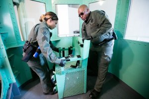 In this handout photo provided by California Department of Corrections and Rehabilitation, staff members dismantle the death row gas chamber at San Quentin State Prison on March 13, 2019, following Gov. Gavin Newsom's moratorium on the death penalty.