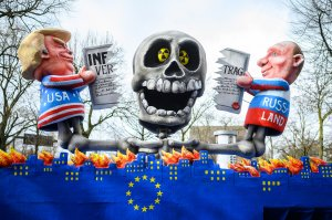 A float featuring an effigy of U.S. president Donald Trump and Russian president Vladimir Putin is seen prior to the annual Rose Monday Carnival parade on March 4, 2019 in Dusseldorf, Germany. (Credit: Lukas Schulze/Getty Images)