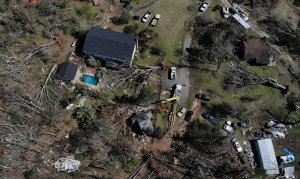 An aerial view shows damages caused by a tornado March 5, 2019, in Smiths Station, Ala.(Credit: Alex Wong/Getty Images)