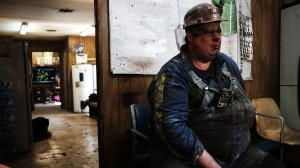 Coal miner Doug Rutherford takes a break after his shift at a small mine on May 19, 2017 outside the city of Welch, West Virginia. (Credit: Spencer Platt/Getty Images)