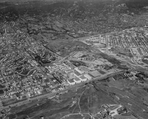 An aerial view of the 20th Century Fox film studios on the western edge of Beverly Hills circa 1937. (Credit: Hulton Archive / Getty Images)