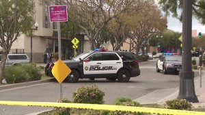The scene of a deadly officer-involved shooting in Inglewood is cordoned off on March 27, 2019. (Credit: KTLA)