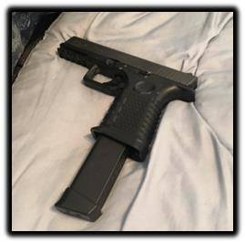 A handgun recovered from a group of alleged Inland Empire serial robbers following their arrest in Rancho Cucamonga on Dec. 12, 2018. (Credit: Riverside Police Department)