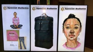 Images showing a sketch of a girl found dead in Hacienda Heights, the clothing she was wearing at the time and a duffle bag she was found in are shown in images released by the Los Angeles County Sheriff's Department on March 6, 2019.